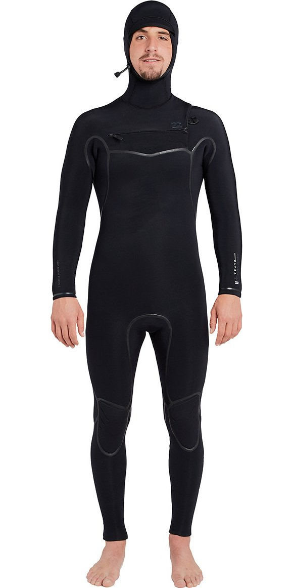 BILLABONG 2018 19 Furnace Carbon Ultra Hooded 7 6mm Chest Zip Wetsuit schwarz L47M01
