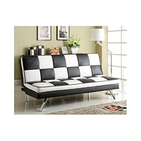 Office Futon. New Retro Futon Leather Checker Sofa Bed Chrome Legs Basement  Home Office Bar