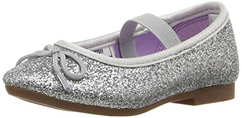 Silver Toddler Shoes (OshKosh B'Gosh Girls' Audrey Ballet Flat, Silver, 7 M US Toddler)