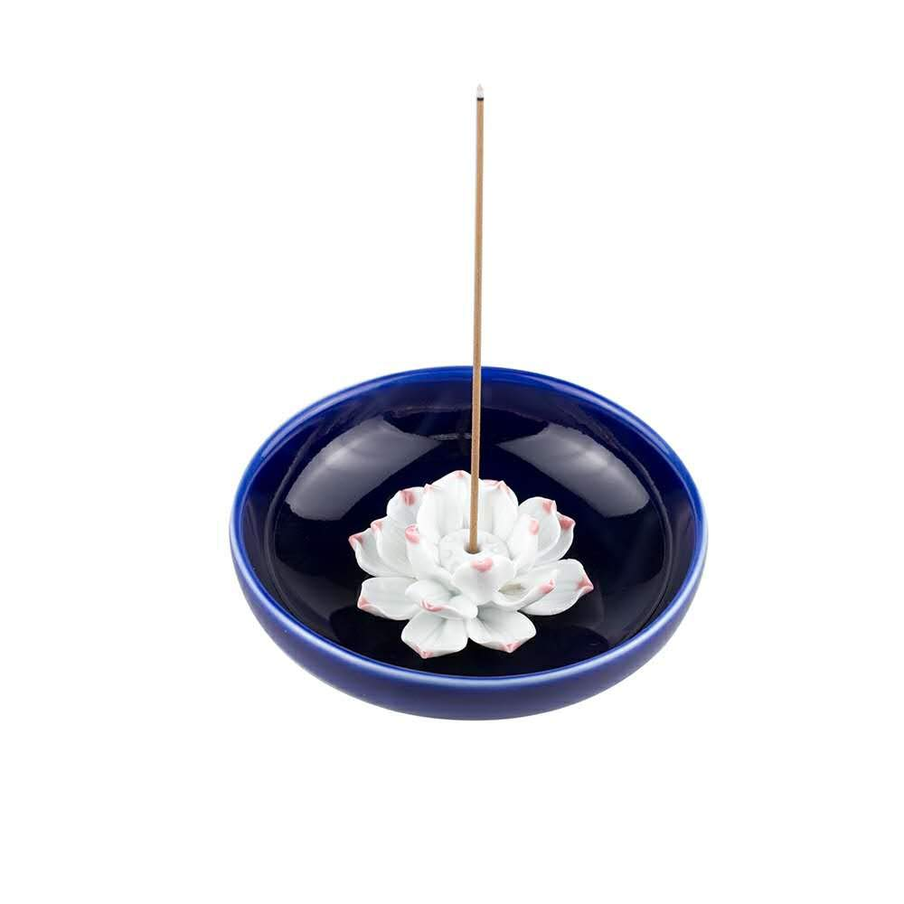 Corciosy Incense Stick Burner Holder-Censer Ceramic Handmade Artistic Lotus Flower Incense Burner Bowl-Buddhist Water Lily Single Hole Incense Ash Catcher Tray IN-013(Style2)