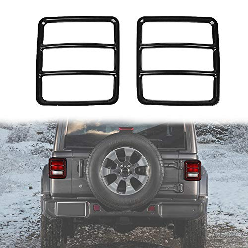 JeCar Metal Tail Light Guard Cover for 2018 Jeep Wrangler JL Sport/Sports - Pair (Rugged Off Road)
