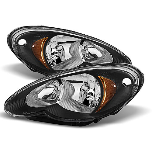 VIPMotoZ 2006-2010 Chrysler PT Cruiser Headlights - Matte Black Housing, Driver and Passenger (Chrysler Pt Cruiser Body Kits)