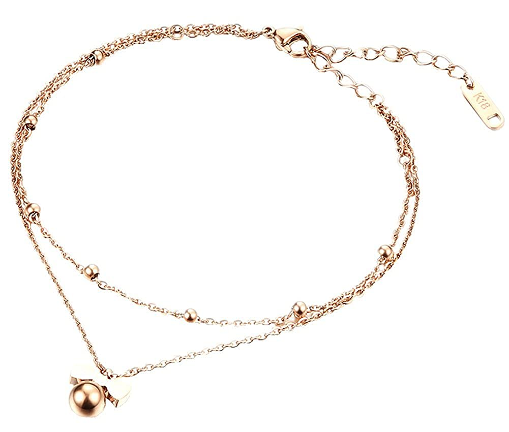 Anklet Braclets, Girls 18K Rose Gold Plated Double Chain Bowknot Shaped Ankle Bracelets Foot Jewelry US8QP150904011