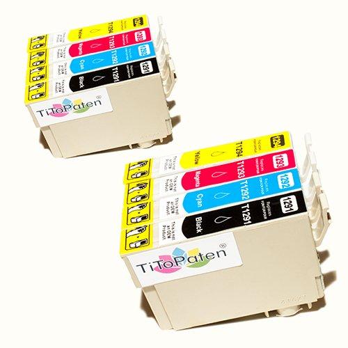 *TITOPATEN* 8x Epson Workforce WF 3520 DWF kompatible XL Druckerpatrone ersetzt Typ T1291-1294 - 2xSchwarz-2xCyan-2xMagenta-2