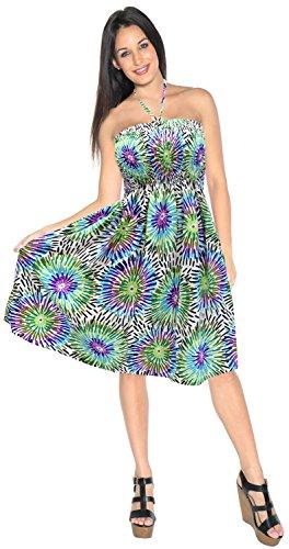 LA LEELA 3 en 1 Mujer de época Likre Suave Suaves, además de Playa Traje de baño Bikini Encubrir Las señoras del Ropa de Playa Maxi Falda sin Mangas de la Correa Loungewear Casual los Sundress Multicolor_g379