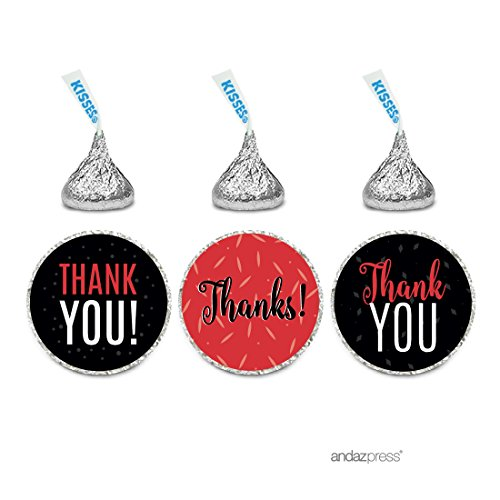 Andaz Press Signature Black, White, Red Party Collection, Chocolate Drop Labels Stickers, Fits Hershey's Kisses, Thank You, 216-Pack, Graduation Party Favors