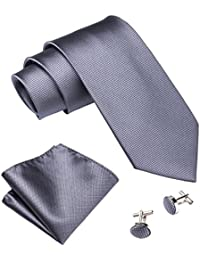 Mens Tie Set Handkerchief Cufflinks Solid Color Neckties Plain Silk Ties
