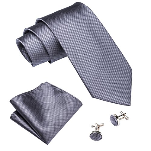 - Barry.Wang Men Tie Set Solid Gray Woven Handkerchief Cufflink