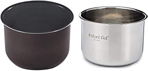 Genuine Instant Pot Ceramic Non-Stick Interior Coated Inner Cooking Pot - 6 Quart & Stainless Steel Inner Cooking Pot - 6 Quart