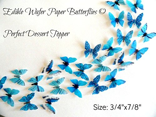 24 MINI VERY SMALL TEAL BLUE Edible Wafer Paper Butterflies© Size 3/4