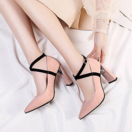 zapatos de de zapatos con baja gruesas novia alto powderred Elegante tacón solo luz mujer PSR4nqx