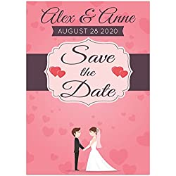 Couple Ribbon Pink Save The Date Wedding Invitations