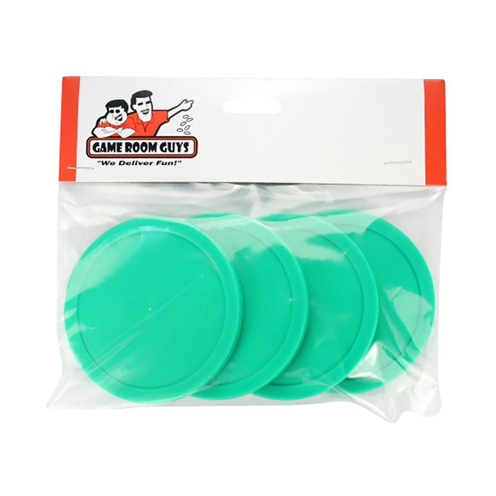 Game Room Guys Set of 4 Green Air Hockey Pucks for Dynamo Tables - 3.25''