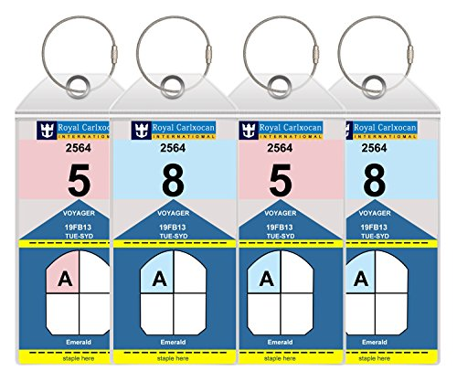 Cruise Luggage Tags Holders Large With Zip Seal & Steel Loops Thick PVC - 4 PCS