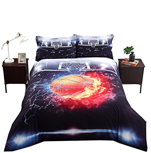 Luckey1 Basketball Print 3D Bedding Sets Twin,Cotton Duvet/Comforter Cover Bedding Sets Twin 4 Pieces,1 Duvet Cover,1 Fitted Sheet,2 Pillowcases (Basketball Fire New, Twin) ()