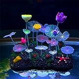 Saim® Glowing Effect Artificial Lotus Root, Leaves and Flowers for Fish Tank Decoration Plastic Aquarium Ornament