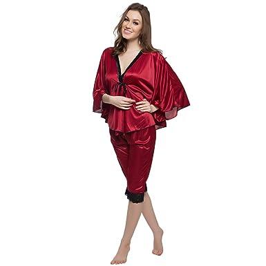 68cba35f34 Clovia Women s 2 Pcs Satin Nightwear Set In Maroon   Black - Kaftan Top    Pyjama