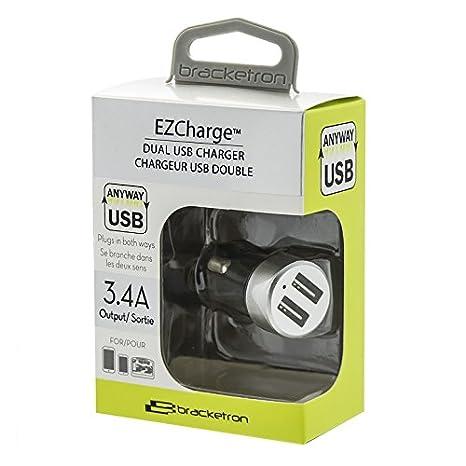 Silver 3.4A BT26482 Bracketron EZCharge Dual