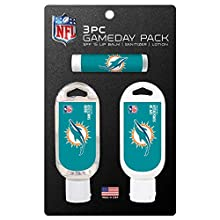 Worthy Promo NFL Miami Dolphins Game Day Pack Includes 1 Lip Balm, 1 Hand Sanitizer and 1 SPF Sunscreen (3-Piece), 8 x 5 x 1.5-Inch, White