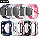 Compatible Apple Watch Band with Case 38mm [5 Pack], MAIRUI Protective Case Bumper Cover Silicone Replacement for Apple Watch Series 3/2/1, iWatch Sport/Edition/Nike+
