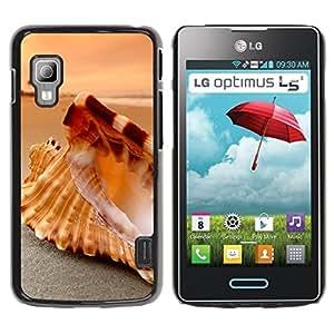 CASECO - LG Optimus L5 II Dual - Seashell Beach - Delgado Negro Plástico caso cubierta Shell Armor Funda Case Cover - Seashell Beach
