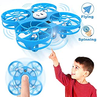 Flying Toys Kids Mini Drone, WEW T4 Hand Operated Drone with Magical Sensors, UFO Drones for Kids with Shinning LED, Gifts for Kids Induction Toy Easy Indoor with Following and Negative Mode - Blue