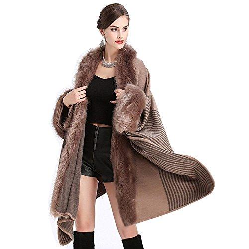 Outerwear Giacca Invernali Elegante Khaki A Giubotto Ragazze Nobile Donna Giovane Sintetica Pelliccia Maglia Outwear Poncho Moda RBwSU1