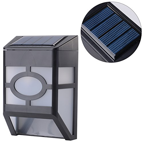 Xcellent Global Solar Powered LED Wall Light Outdoor Waterproof Energy Saving with Rechargeable and Replaceable Battery (Include) , Black M-LD031