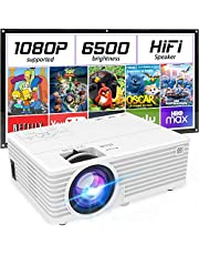 """Mini Portable Projector with 6500 Brightness, 1080P Supported Movie Projector, 176"""" Display Compatible with TV Stick, HDMI, USB, VGA, AV for Home Entertainment"""