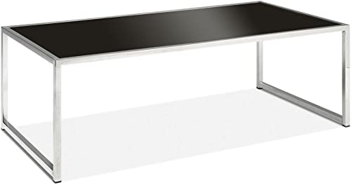 Office Star Yield Collection Black Glass Coffee Table 44″W x 22″D x 15″H