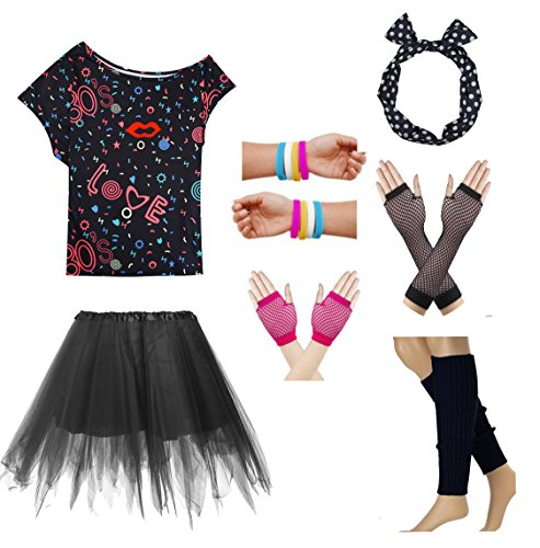 80s Party Costume T Shirt Halloween Dressing for Women and Girls Outfit Set (L, Black)