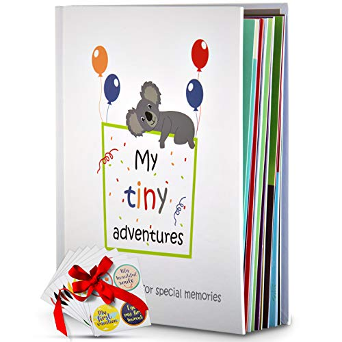 Baby Memory Book – First 5 Years Photo Album, Journal & Scrapbook + 28 FREE Monthly & Milestone Stickers. Modern Baby Shower Gift for Girl or Boy. 54 Pages + Gift Box & Keepsake Envelope by Tiny Gifts from Tiny Gifts