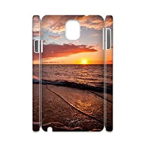 3D Case for Samsung Galaxy Note 3, Beach Sunset Case for Samsung Galaxy Note 3, Cathyathome White