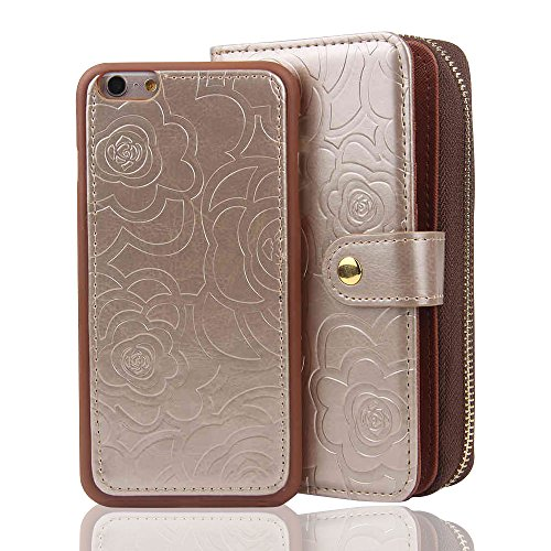 RAYTOP [Magnetic Phone Case Removable From Wallet] Flip Cover for [iPhone 6 Plus] & [iPhone 6s Plus] 5.5