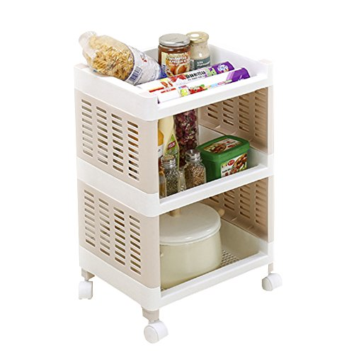 AIYoo 3 Tier Storage Utility Cart, Rolling Trolley Storage Shelf, Mesh Storage Rack with Wheels, Rolling Carts Standing Shelving Unit Organizer for Bedroom Kitchen Garage Office Arts And Crafts by AIYoo