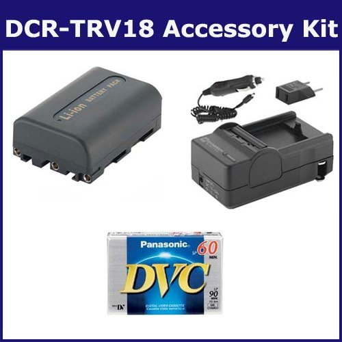 Sony DCR-TRV18 Camcorder Accessory Kit includes: SDM-101 Charger, DVTAPE Tape/ Media, SDNPFM50 Battery by Synergy Digital