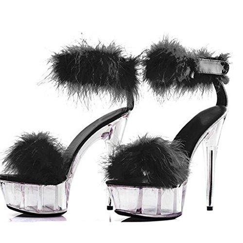 A Chaussures Chaussures Fond Avec pour Forme SET Femmes Hauteur Nightclub Pied Plate épais LLP Modèle Heels Femmes Sandales étanche Super 15cm High qaExw01gZU