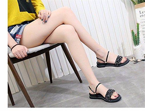 35 Plana Code Piscina Verano European Black 36 Amarillo Europeo Una Antideslizante Cool BTBTAV Zapatillas con Código Base Z6wq5Y