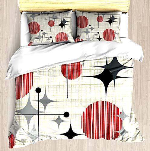 (SNRBED Eames Era Starbursts and Globes 2 (Bkgrnd) Duvet Cover Set Soft Comforter Cover Pillowcase Bed Set Unique Printed Floral Pattern Design Duvet Covers Blanket Cover - King)
