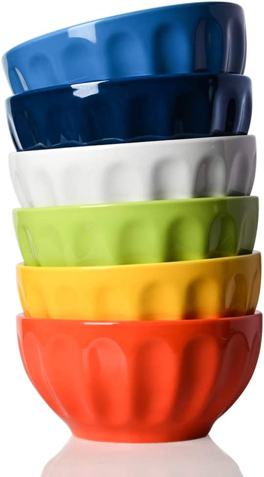 SWEEJAR Ceramic Fluted Bowl Set, 26 oz for Cereal, Salad, Pasta, Soup, Dishwasher Microwave Safe - set of 6(Multicolour)