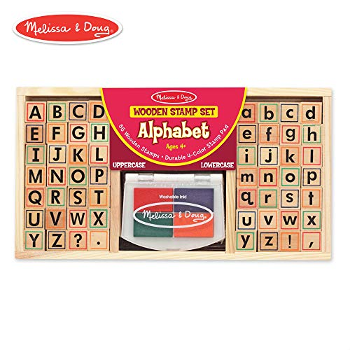 Melissa & Doug Alphabet Stamp Set (Stamps with Lower-Case and Capital Letters, 4 Colors, - Capital Alphabet Letters