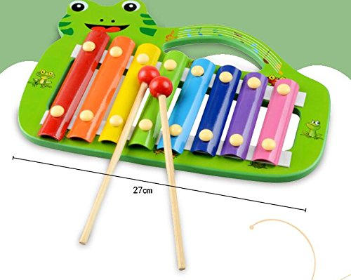 Polymer Musical Toys Frog Shape Wooden Xylophone Piano Wooden Hand Knock Xylophone for Baby Learning Music(Green) by Polymer (Image #3)