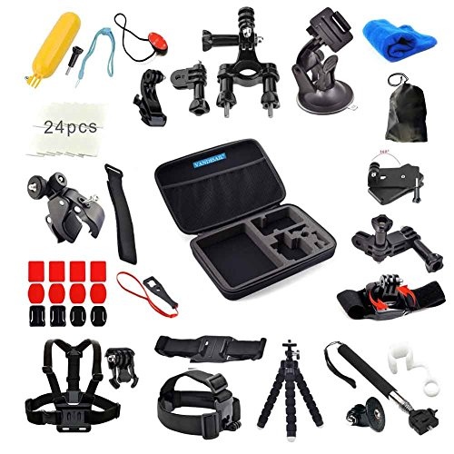 GoPro Accessories, VANDESAIL 60 in 1 Essential Bundle Kits with Shockproof Carry Case for GoPro 4 3+ 3 2 1 Black Silver Camcorder