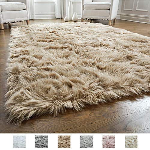 Gorilla Grip Original Premium Faux Fur Area Rug, 3 FT x 5 FT, Softest, Luxurious Carpet Rugs for Bedroom, Living Room, Luxury Bed Side Plush Carpets, Rectangle, Beige