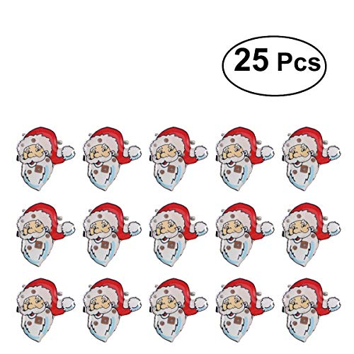 BESTOYARD LED Brooch Christmas Brooch Pin Santa Claus Badge Brooch Children Gift Party Favors 25Pcs