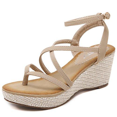 XIAOLIN ヒール高さ7 Cm防水プラットフォーム2.5 Cmクリップつま先サンダル女性の夏のスロープヒールクロスベルトバックルウェッジサンダルハイヒール厚手の学生靴ラージサイズシューズ(オプションのサイズ) (色 : ブラック, サイズ さいず : EU38/UK5.5/CN38)