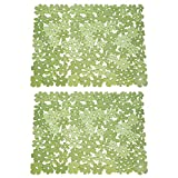 mDesign Adjustable Kitchen Sink Dish Drying Mat/Grid - Quick Draining Design - Soft Plastic Pad Protects and Cushions Sinks, Stemware, Wine Glasses, Dishes - Decorative Flower Design, 2 Pack, Green