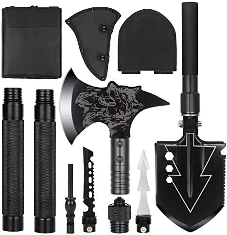 LIANTRAL Camping Shovel Axe Set- Folding Portable Multi Tool Survival Kits with Tactical Waist Pack, Camping Axe Military Shovel for Backpacking, Entrenching Tool, Car Emergency