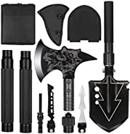 LIANTRAL Camping Shovel Axe Set- Folding Portable Multi Tool Survival Kits with Tactical Waist Pack, Camping A
