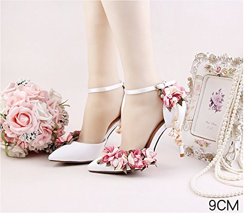 Ultra Dress High Adults Shoes Pink 7 Pearl 7Cm Formal Pointed Shoes Flower Bridal 5 Lace Satins Heels Silks Shoes VIVIOO Toe Sandals Sandals Prom Wedding Heel OCRtqR